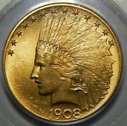 1908 Motto Pcgs Ms64 10 Indian Head Gold