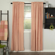 Pair Curtain Panels Sawyer Mill Red Ticking Lined Cotton Country Cottage Window