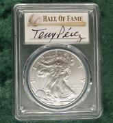 2021 Pcgs Ms70 First Day Of Issue Silver Eagle 1 Baseball Tony Perez Signed