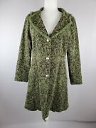 Papillon Size Large Womenand039s Green Tapestry Embroidered Lace Button Front Coat