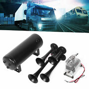 Black Alloy Air Horn With 1.5 Gal Air Tank Compressor For Trains Cars Truck