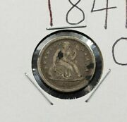 1841 O Liberty Seated Silver Dime Coin Average Vg / F Small O F-106 Variety