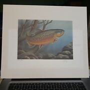 1986 North Dakota Trout Stamp Print Press Proof Signed By Artist Ronald Louque