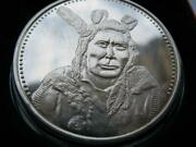 1.oz Little Crow Kaposia Sioux Native Indian Tribal Nations 925 Silver Coin+gold