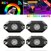 4x Rgb Led Rock Lights Underbody Wheel Light Fit For Jeep Offroad Truck Car Atv