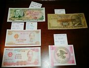 5 Lot Currency Collection Costa Rica Viet Nam Turkey Kyrgyzstan 1970 1993 Notes
