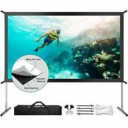 Projector Screen With Stand Upgraded 3 Layers 120 Inch 4k Hd 169 Outdoor/indo...