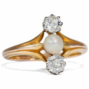Antique Art Nouveau Ring Um 1900 Diamonds And Natural Pearl In Gold/trilogy