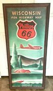 Vintage Phillips 66 Wisconsin 1936 Highway Map Wooden Sign Solid Wood Gas Oil