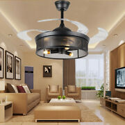 42 Industrial Invisible Ceiling Fan 3-light Steampunk Chandelier Remote Control