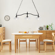 3 Lights Farmhouse Chandelier In Rustic Black Metal With Clear Glass Shades Lamp
