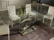 Dining Table Designer Glass Plate Calima Luxury Stainless Steel Kitchen Room