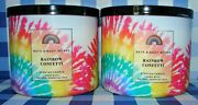 Bath And Body Works Rainbow Confetti 3 Wick Scented Candle Lot Of 2