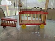 Fisher Price Vintage/antique Wooden Circus Wagon And Animal Cage 1960's 900