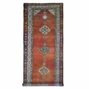 4and0398x12and039 Antique North West Farsian Wide Runner Wool Abrush Hand Made Rug R66657