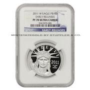 2011-w 100 Platinum Eagle Ngc Pf70ucam Early Releases Ultra Cameo 1 Oz Proof