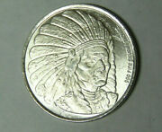 Indian Chief With War Bonnet 1 Oz .999 Fine Silver Enviromint Round 5821