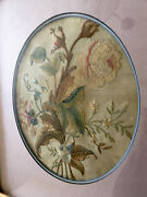 Rare 18th C Antique Silk Embroidery Needlework Colorful Floral Oval Gilt Frame