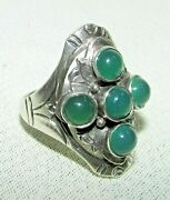 Arts And Crafts Sterling Silver 925 Ring Kalo Shop Signed Chrysopraze Decor 124yw