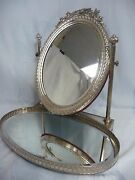 Stunning And Glamorous Vintage Silver Plate Vanity Mirror W/attached Tray
