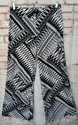 Chico's Palazzo Pants 1 Boho Printed Slinky Stretch Knit Hippie Bell Bottoms S/m