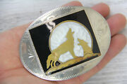 Vintage Wolf Howling At Moon Belt Buckle Johnson And Held Enamel Brass Silverplate