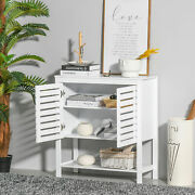 Compact Wooden Storage Cupboard With Wide Tabletop And Multiple Shelves