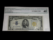 1934-a 5 Silver Certificate North Africa Yellow Seal Note Bill Xf