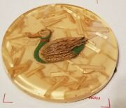 Vtg Mid Century Lucite Duck W Straw Footed Trivet