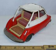 1958 Bmw Isetta Micro Car Tin Friction Toy For Parts