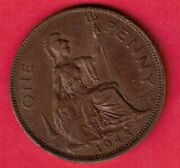 Great Britain Gb Uk Km845 1945 Xf-super Nice Old Penny Coin Free Us Shipping