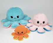Giant Reversible Octopus Plush Big Flip Large Stuffed Happy Sad Mood Doll Toy