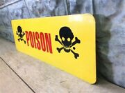 Danger Metal Sign Warning Skull Crossbones Sign Yellow Metal Safety Sign I