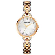 Bulova Womens Rose Gold Watch, White Mother Of Pearl Dial, Crystallized Band
