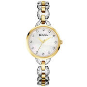Bulova Womens Two-tone Watch, White Mother Of Pearl Dial, Crystallized Band