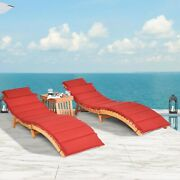 3pcs Pool Side Porch Chaise Lounge Chair Outdoor Patio Sun Bed Wodden Furniture