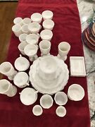 Set Of Milk Glass China Includes Dinner/bread Plates Cup/saucer Water/wine Etc