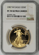 1987-w American Gold Eagle 50 One-ounce 1 Oz Proof Pf 70 Ultra Cameo Ngc