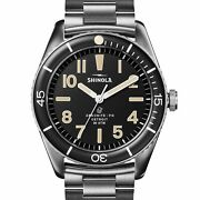 Shinola 42mm The Duck Black Dial Stainless Steel Bracelet Extra Band Watch