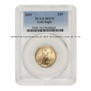 2001 10 Eagle Pcgs Ms70 Flawless Gold Bullion Coin Graded Coin Low Pop Of 47