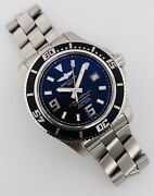 Breitling Superocean 44mm Automatic Black Dial Orange Steel Box/papers A17391