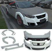 Fits 2016-2018 Honda Civic 10th Gen Tr Style Front Bumper Cover - Pu