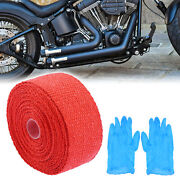 2 X 16ft Red Motorcycle Exhaust Muffler Pipes Heat Sheild Wrap Tape Set