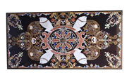 4'x2' Black Marble Dining Table Top Inlay Mosaic Fishes Stone Kitchen Decor B786