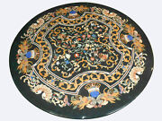 42 Black Marble Side Dining Table Top Inlay Mosaic Lapis Stone Home Decor B788a