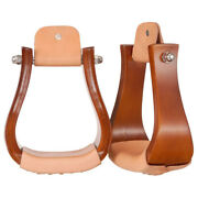 C--0-0 Tough 1 Solid Hardwood Horse Bell Stirrups Pair Oil Lacequer Finish W/ 3