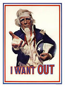 I Want Out Uncle Sam Anti Vietnam Print