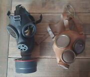 Swiss Sm74 Gas Mask W/ Filter Canister And Belgium M51 Wwii Collection/lot