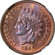 1865 Indian Cent Ngc Ms65 Rb Superb Eye Appeal Strong Strike