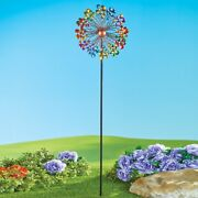 5 Foot Tall Vibrant Double Rainbow Kinetic Metal Wind Spinner Garden Stake